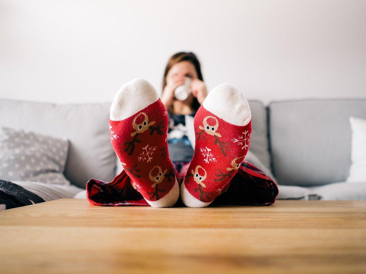 couch feet christmas socks