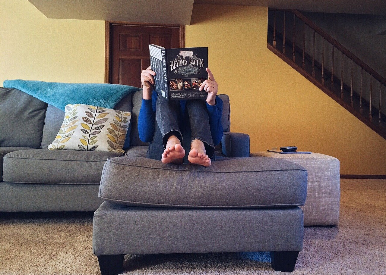 couch person potato reading