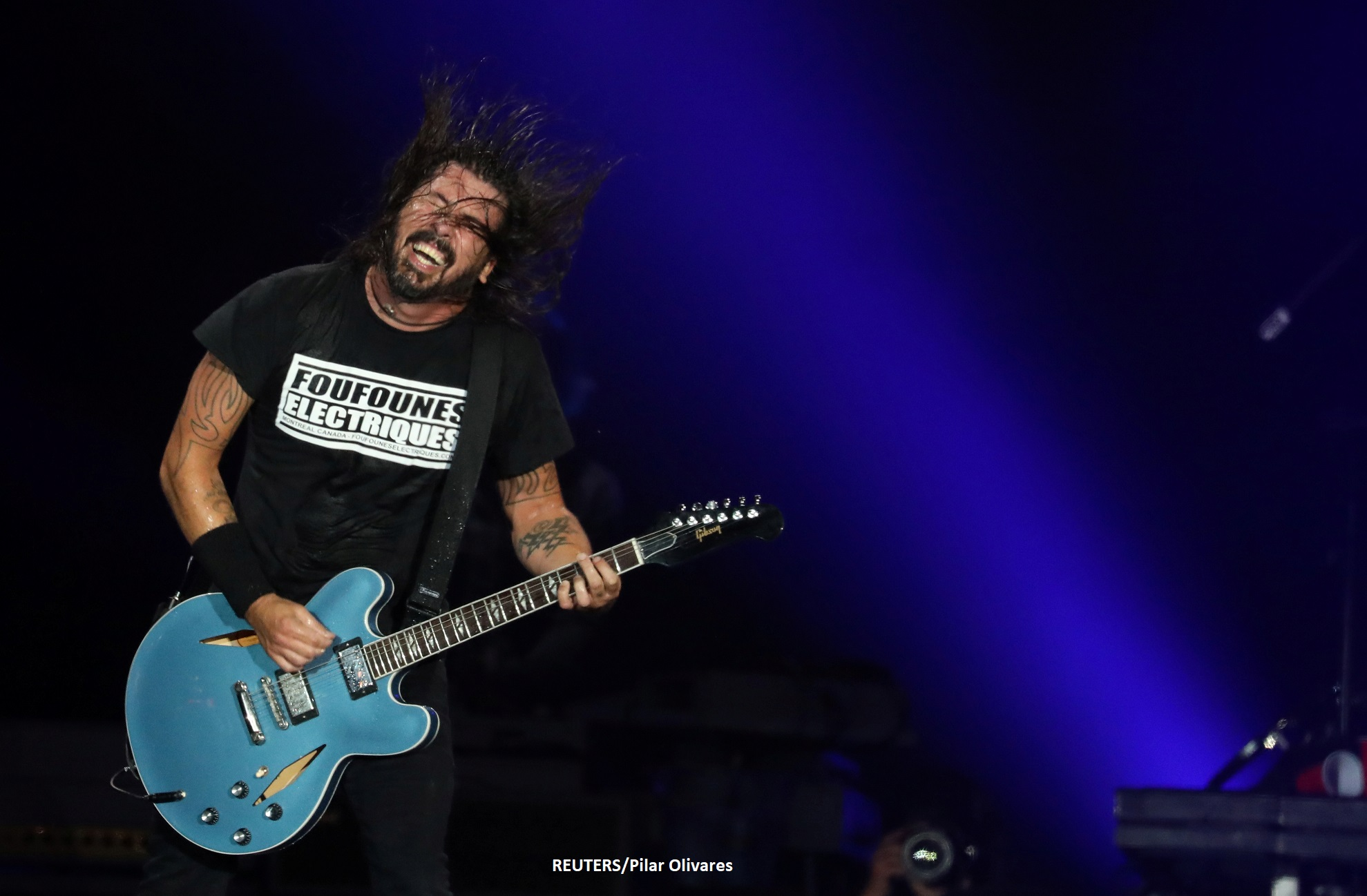 Dave Grohl of Foo Fighters band performs during the Rock in Rio Music Festival in Rio de Janeiro